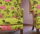 Beautifully upholstered Arm Chairs upholstered as part of a upholstery course at the upholstery workshop in Alderbury, Wiltshire